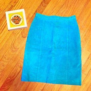 Vintage Aqua Leather Pencil Skirt